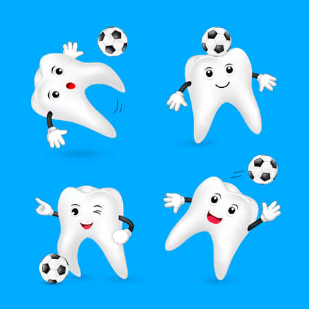 Set of cute cartoon tooth playing soccer ball. Mascot character, sport concept. Illustration isolated on blue background.