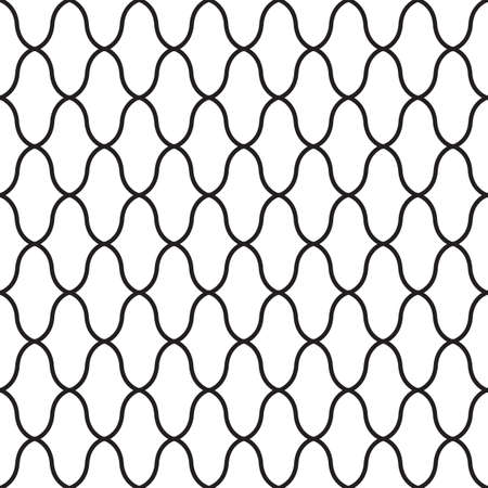 Geometric design seamless pattern. Black line. Vector illustration isolated on white background. Illustration