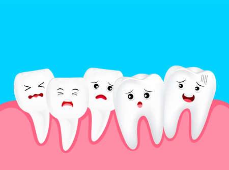 Apiñamiento de dientes, personaje de dibujos animados lindo. Concepto de problema dental, ilustración. Aislado sobre fondo azul. Ilustración de vector