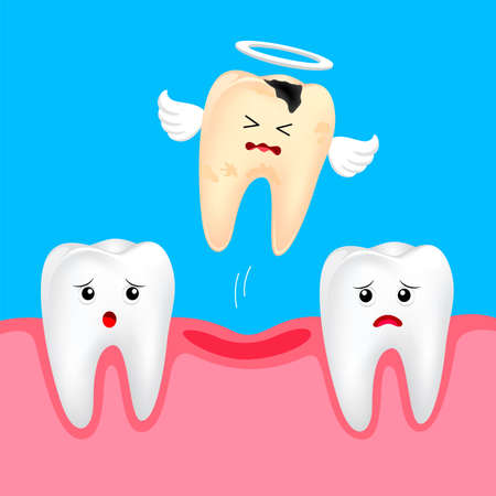Funny cute cartoon missing tooth. Dental care concept. Illustration isolated on blue background.  イラスト・ベクター素材