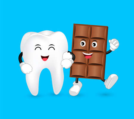 Cute cartoon tooth and Chocolate character with love. Dental care concept. Funny illustration isolated on blue background. Illustration