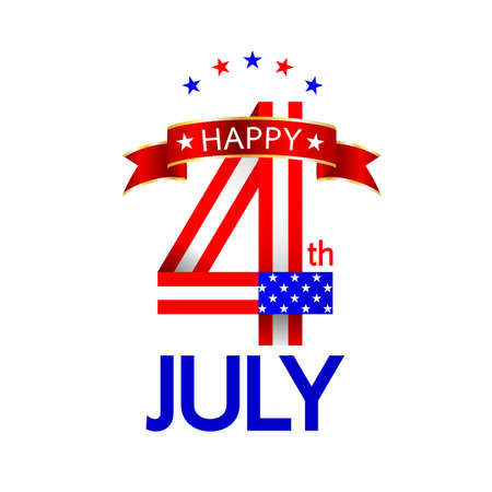 Happy USA Independence Day 4 th of July. Icon design for greeting card and poster. Illustration isolated on white background.
