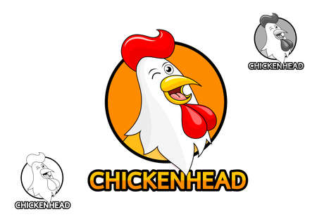 Happy rooster smiling. Cartoon chicken head, icon design. Vector illustration isolated on white background.
