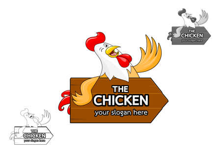 Happy rooster smiling with wooden sign. Cartoon chicken, icon design. Vector illustration isolated on white background.