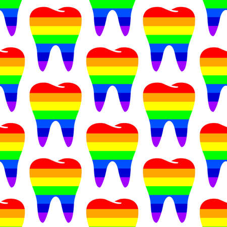 Rainbow Tooth seamless pattern design. Dental care concept. Vector illustration isolated on white background.