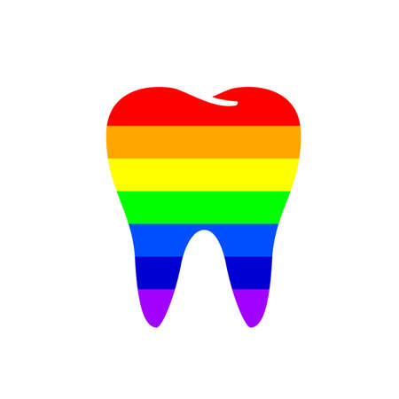 Rainbow Tooth icon design. Dental care concept. Vector illustration isolated on white background.