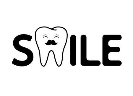 Smile lettering design with cute cartoon tooth. Dental care concept. Vector illustration isolated on white background. Illustration