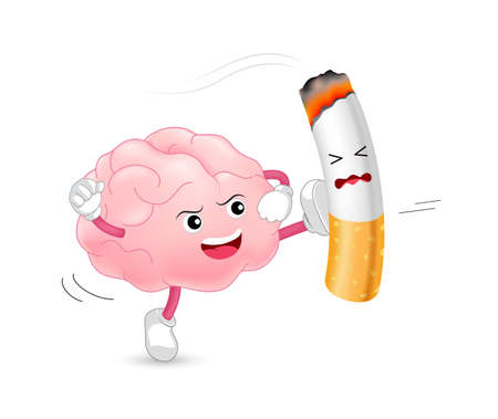 Brain character attacking the cigarette. Smoking is harmful to the brain and other organs. Resulting in organ damage and premature. World No Tobacco Day. Illustration