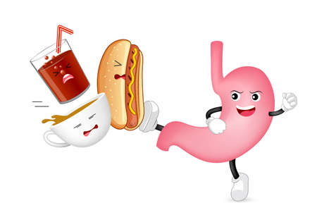 Cute cartoon stomach character attack acidic food and drink, coffee, hotdog and solf drink. Healthy internal organ concept. Illustration isolated on white background.