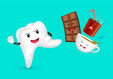 Cute cartoon tooth character attacking unhealthy food and drink. Chocolate, coffee and solf drink. Dental care concept. Illustration isolated on green background.