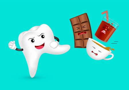 Personnage de dent de dessin animé mignon attaquant la nourriture et les boissons malsaines. Chocolat, café et soda. Concept de soins dentaires. Illustration isolée sur fond vert.