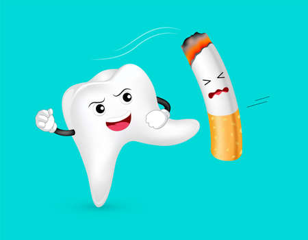 Cute cartoon tooth character attacking the cigarette. Smoking is harmful to human teeth. Dental care concept. Illustration isolated on blue background. Illustration