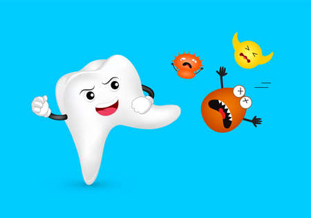 Cute cartoon tooth character attacking bacteria. Dental care concept, illustration isolated on blue background. Illustration