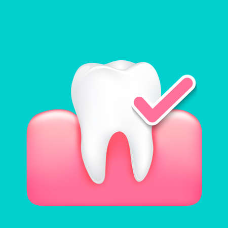 Whitening tooth with check mark. Icon design. Healthy tooth concept. Illustration isolated on green background.