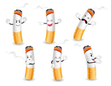 Personaggi dei cartoni animati di sigarette con facce felici, arrabbiate e tristi. progettazione del concetto di assistenza sanitaria. Illustrazione isolato su sfondo bianco. Giornata mondiale senza tabacco.