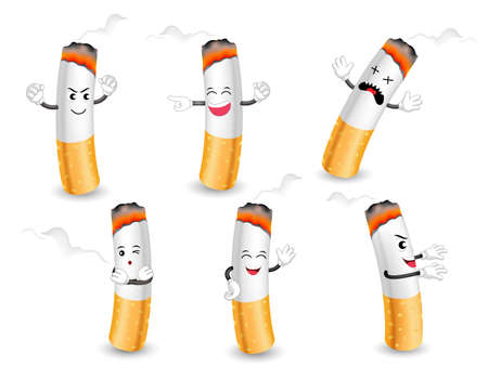 Cartoon cigarette characters with happy, angry and sad faces. healthcare concept design.  Illustration isolated on white background. World No Tobacco Day. Illustration