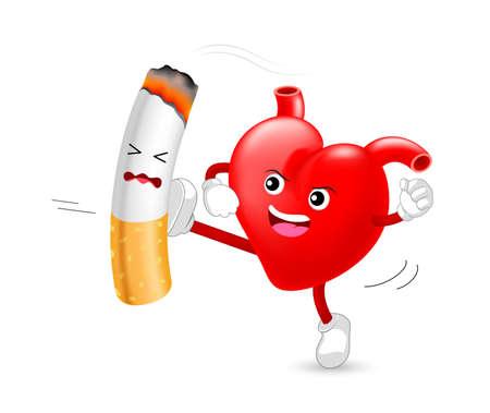Carácter de corazón atacando el cigarrillo. Fumar es perjudicial para el corazón humano. Resultando en daño orgánico y prematuro. Día Mundial Sin Tabaco.
