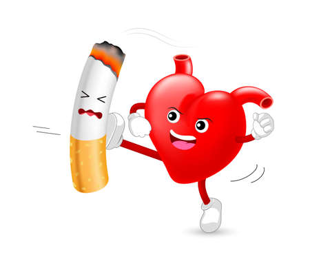 Heart character attacking the cigarette. Smoking is harmful to human heart. Resulting in organ damage and premature. World No Tobacco Day.