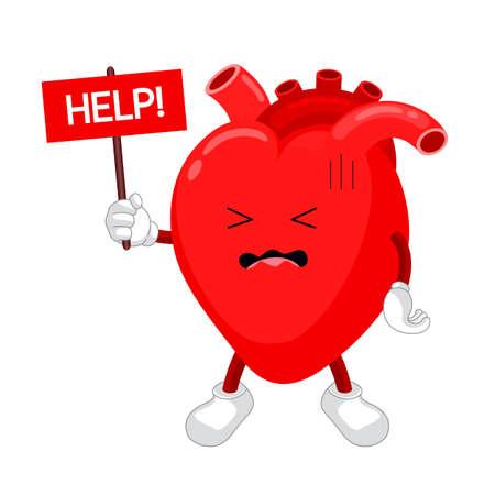Cartoon Charakter Traurigkeit Herz mit Typenschild Hilfe. Ungesundes Herzkonzept, Ikonendesign. Vektorillustration lokalisiert auf weißem Hintergrund. Vektorgrafik