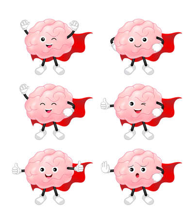 Cartoon hero brain character set. happy cute tooth superheroes. Inspiration cartoon brain concept. Vector illustration isolated on white background.