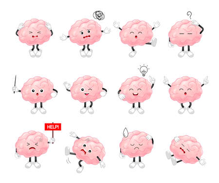 Cute cartoon brain character set. Human brain intellect, knowledge, education and Brainstorm concept. Vector illustration isolated on white background.