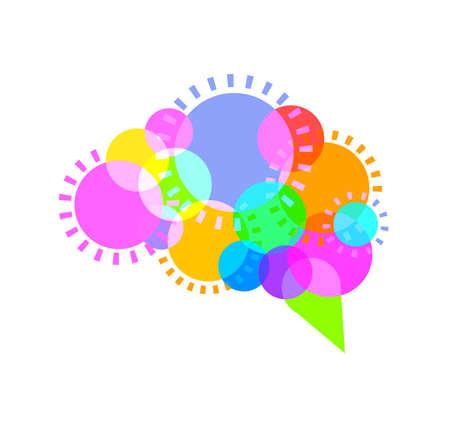 Circle in human brain shape. Colorful icon design, creative idea concept. Illustration isolated on white background. Illustration