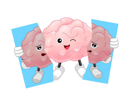 Cute cartoon brain character holding tear of unhealthy brain. Inspiration cartoon brain concept, before and after. Illustration isolated on white background.