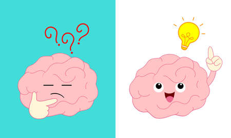 Cute cartoon brain character pondering face with right hand and light bulb. Creativity and innovation concept, Flat style, icon design. Vector illustration.