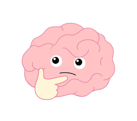 Cute cartoon brain character pondering face with right hand. Flat style, icon design. Human brain intellect, knowledge, education and Brainstorm concept. Vector illustration isolated on white background.