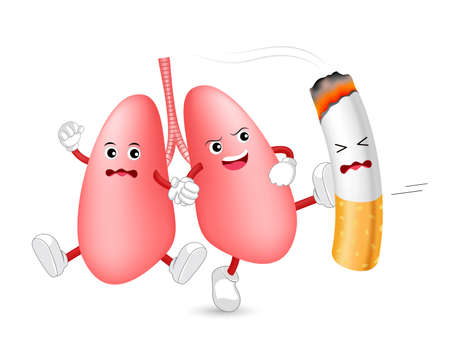 Cartoon lung character attacking the cigarette. Smoking is harmful to human lung. Resulting in organ damage and premature. World No Tobacco Day.