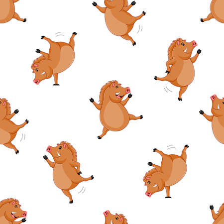 Cute wild  boar seamless pattern. Cartoon character design, vector illustration isolated on white background.