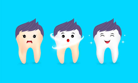 Set of  clean and dirty tooth character on blue background, clearing tooth process. Teeth Whitening. Dental health Concept. Oral Care, teeth restoration. Yellow and white teeth.