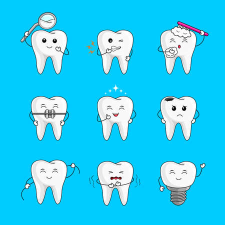 Cute cartoon character set. Emoticons with different facial expressions. Dental care concept. Illustration isolated on blue background.