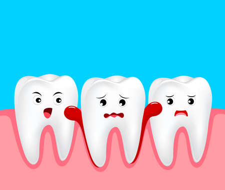 Cute cartoon tooth character with gum problem. Dental care concept, gingivitis and bleeding. Illustration on blue background.