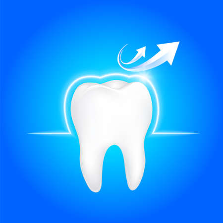 Human tooth protected from bacteria by barrier protection. Dental care concept illustration.