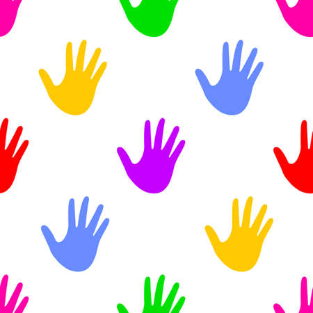 Colorful human hand print. Seamless pattern. Vector illustration isolated on white background.