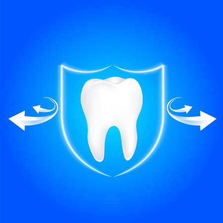 Human tooth protected from bacteria by shield  protection. Icon design. Dental care concept, illustration.