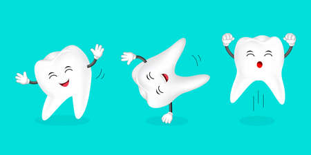 Set of human tooth dancing. Cartoon character design, vector illustration isolated on green background.