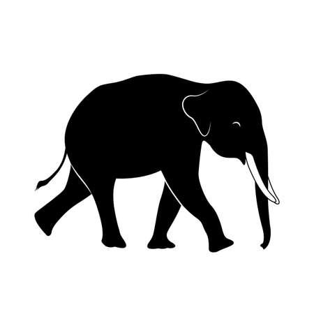 Silhouette walking elephant. Vector illustration isolated on white background. Illustration