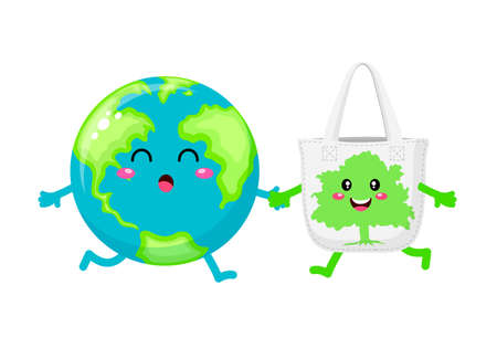Cute cartoon globe character with cloth bag. Reduce global warming concept. Vector illustration isolated on white background.