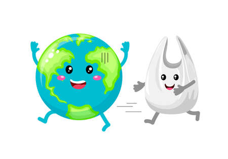 Cute cartoon globe character with plastic bag. Reduce global warming concept. Illustration isolated on white background.