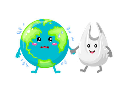 Cute cartoon globe character holding hands with plastic bag. Global warming concept. Illustration isolated on white background. Illustration