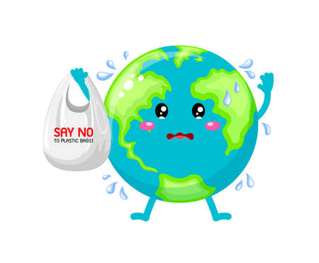 Sadness cartoon globe character holding plastic bag. Say no to plastic bag. Global warming concept. Illustration isolated on white background. Illustration
