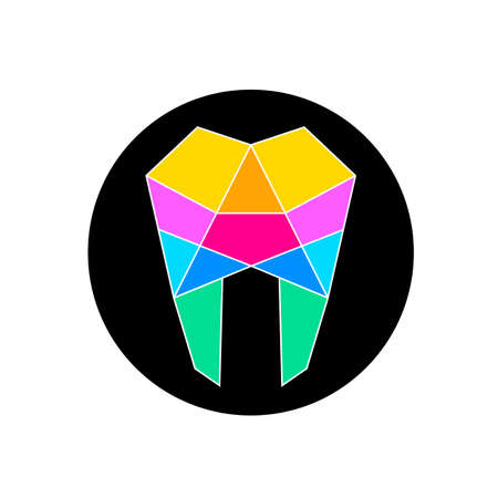 Human tooth line art, icon design. Colorful tooth shape in black circle. Dental care concept. Vector illustration. Illustration