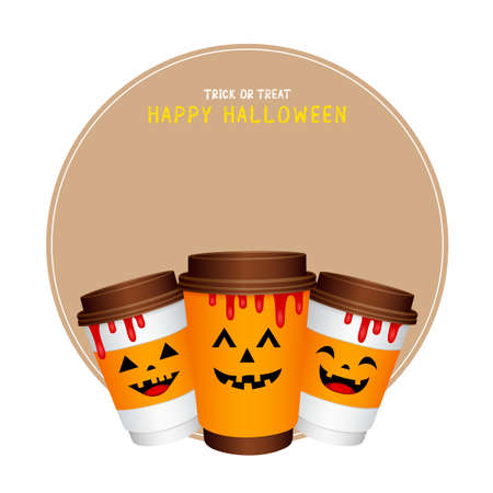 paper coffee cups cartoon character with Halloween concept. Happy Halloween day. Trick or treat. Illustration isolated on white background.