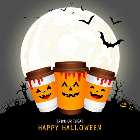 paper coffee cups cartoon character with moon. Halloween concept. Happy Halloween day. Trick or treat. Illustration isolated on white background.
