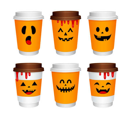 Set of paper coffee cups cartoon character with Halloween concept. Happy Halloween day. Trick or treat. Illustration isolated on white background.