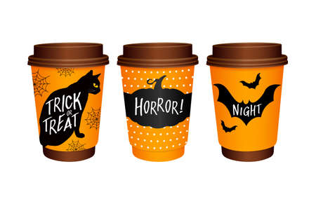 Set of paper Coffee Cups with Halloween elements design. Black cats, Pumpkin, Bat. Happy Halloween day. Trick or treat. Illustration isolated on white background.