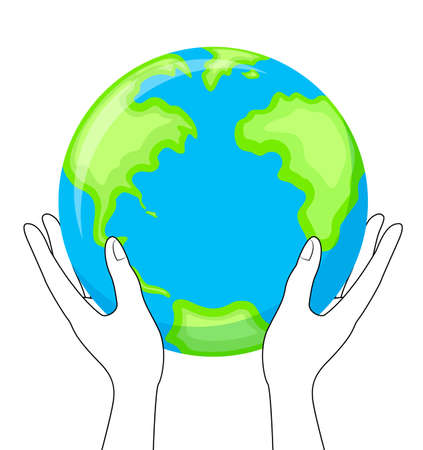 Globe in hands. hold the Earth planet, icon design. Vector illustration isolated on white background. Illustration