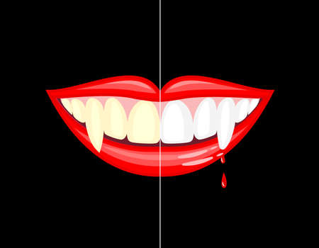 Vampire mouth with drops of blood. Before and after. Dental care concept.. Happy Halloween day. Vector illustration isolated on black background. Çizim